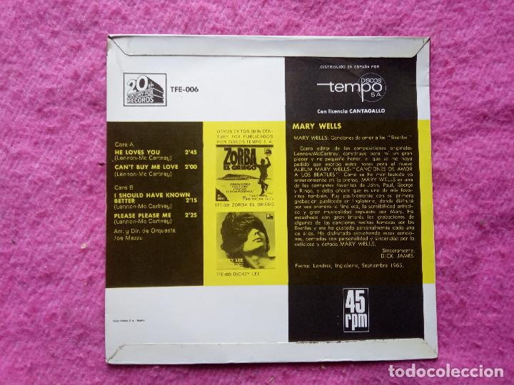 Discos de vinilo: EP MARY WELLS - He loves you / Cant buy me love +2 - TFE-006 - EP SPAIN press (EX+/EX+) - Foto 2 - 221405180