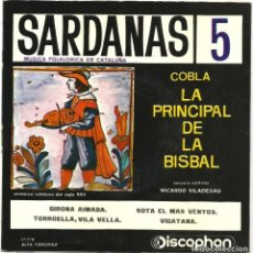 Discos de vinilo: SARDANES - 5 (EP) 1961 - COBLA LA PRINCIPAL DE LA BISBAL -TENORA : RICARD VILADESAU. Lote 221408030