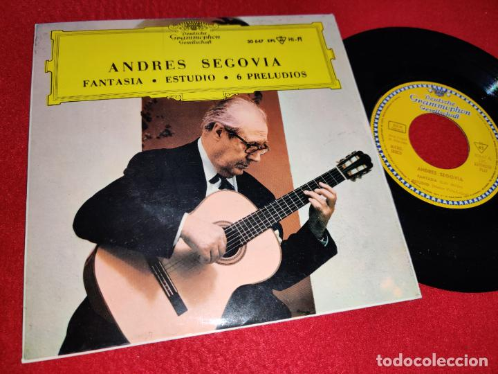 ANDRES SEGOVIA FANTASIA/ESTUDIO/6 PRELUDIOS EP 1964 DEUTSCHE ESPAÑA SPAIN GUITARRA GUITAR (Música - Discos de Vinilo - EPs - Otros estilos)
