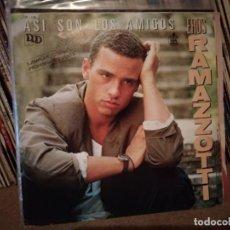 Discos de vinilo: EROS RAMAZZOTTI - COMPLETAMENTE ENAMORADOS + ASI SON LOS AMIGOS -SINGLE- HISPAVOX 1988. Lote 221456336