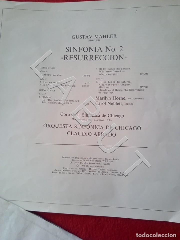 Discos de vinilo: GUSTAV MHALER SYMPHONIE Nº 2 MARILYN HORNE CLAUDIO ABBADO 2707 094 LP D4 - Foto 2 - 221464452