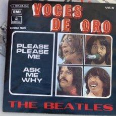 Discos de vinilo: DISCO DE VINILO THE BEATLES VOCES DE ORO PLEASE PLEASE ME - ASK MY WHY ODEON 1963. Lote 221498833