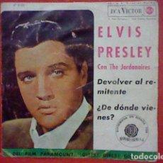 Discos de vinilo: ELVIS PRESLEY SINGLE CON JORDANAIRES 1962 HISPAMEX ESPAÑA 47-8100 N2PW-3279 USADO. Lote 221499632