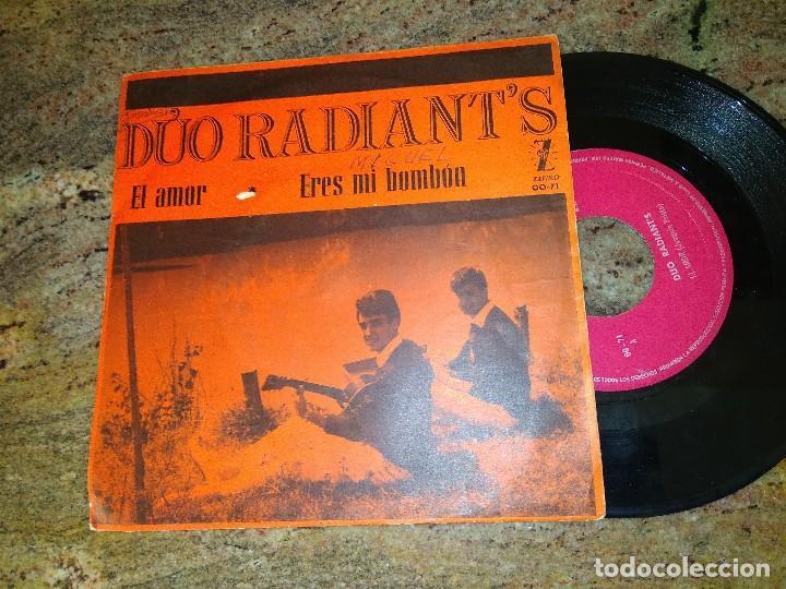 DUO RADIANT'S / EL AMOR - ERES MI BOMBON / SINGLE 45 RPM / ZAFIRO (Música - Discos - Singles Vinilo - Grupos Españoles 50 y 60)