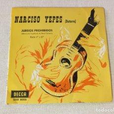 Discos de vinilo: SINGLE VINILO NARCISO YEPES GUITARRA JUEGOS PROHIBIDOS MUSICA DE LA PELICULA. Lote 221508600