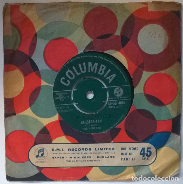 THE REGENTS. BARBARA-ANN/ I'M SO LONELY. COLUMBIA, UK 1961 SINGLE (Música - Discos - Singles Vinilo - Rock & Roll)