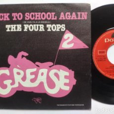 Discos de vinilo: THE FOUR TOPS - 45 SPAIN PS - MINT - BACK TO THE SCHOOL AGAIN - GREASE 2. Lote 221521136
