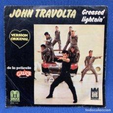 Discos de vinilo: SINGLE JOHN TRAVOLTA - GREASED LIGHTNIN' - DE LA PELÍCULA GREASE - ESPAÑA - AÑO 1978. Lote 221531017