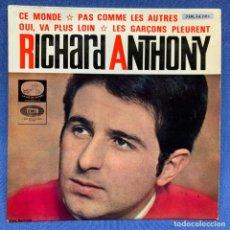 Discos de vinilo: SINGLE RICHARD ANTHONY - CE MONDE / PAS COMME LES AUTRES - ESPAÑA - AÑO 1984. Lote 221534056