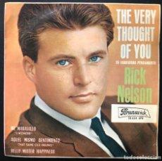 Discos de vinilo: RICK NELSON THE VERY THOUGHT OF YOU + 3 EP 10654 1964 SPAIN BRUNSWICK VINILO VG+ CARPETA VG+. Lote 221539267
