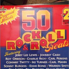Discos de vinilo: 50 ROCK & ROLL GREATS, LP DOBLE JERRY LEE LEWIS,JOHNNY CASH,ROY ORBISON,CARL PERKINS.... Lote 221581983