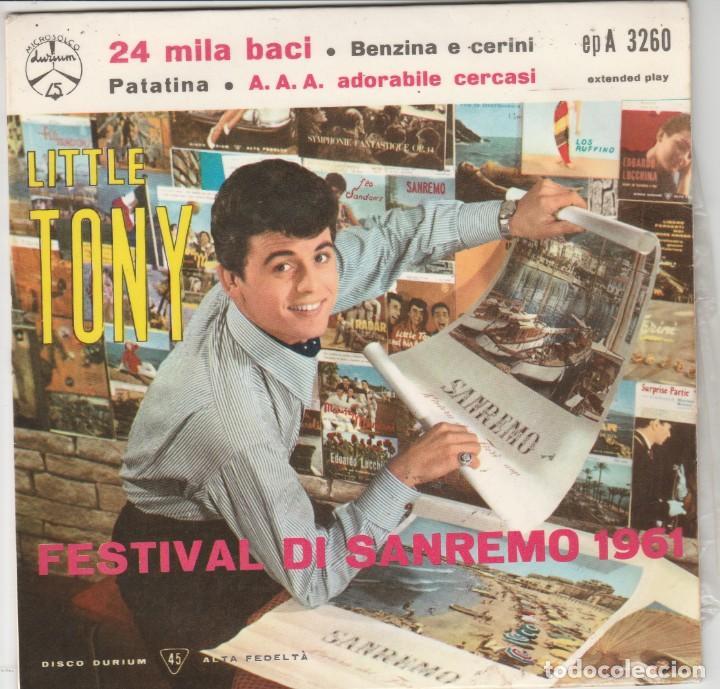 EP LITTLE TONY 24 MILA BACI +3 DURIUM SANREMO 1961COVER CARTONATA UNA SCRITTA FACE B ITALY (Música - Discos de Vinilo - EPs - Otros Festivales de la Canción)