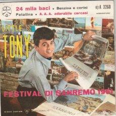 Discos de vinilo: EP LITTLE TONY 24 MILA BACI +3 DURIUM SANREMO 1961COVER CARTONATA UNA SCRITTA FACE B ITALY. Lote 221632861