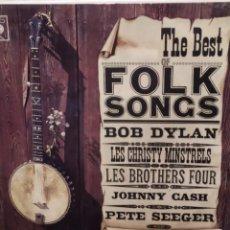 Discos de vinilo: THE BEST OF FOLK SONGS: BOB DYLAN ,JOHNNY CASH-, PETE SEEGER, LES BROTHERS FOUR. CBS ESPAÑA 1966.. Lote 221661403