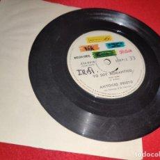 Discos de vinilo: ANTONIO PRIETO YO SOY ROMANTICO/UNA LAGRIMA EN TU ROSTRO 7'' SINGLE RCA PROMO ARGENTINA 33 RPM. Lote 221704536
