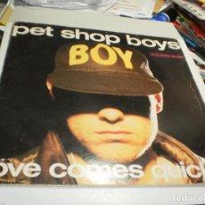Discos de vinilo: MAXI SINGLE. PET SHOP BOYS. LOVE COMES QUICKLY. EMI 1986 SPAIN (PROBADO, BIEN). Lote 221718935