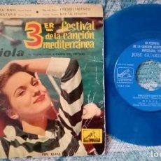 Discos de vinilo: SINGLE JOSE GUARDIOLA - III FESTIVAL MEDITERRANEA -¡ÚNICO ENVÍO A FINAL DE MES!. Lote 221762878