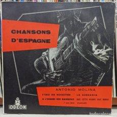 Discos de vinilo: CHANSONS D ESPAGNE ANTONIO MOLINA / IMPRESO EN FRANCIA. Lote 221790901