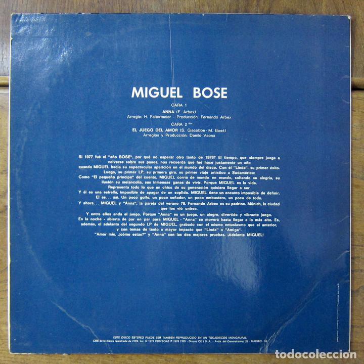 Discos de vinilo: MIGUEL BOSÉ - ANNA (EN INGLÉS) / EL JUEGO DEL AMOR - 1978 - PROMOCIONAL - Foto 2 - 221827072