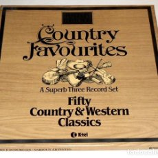 Discos de vinilo: V1240 - COUNTRY FAVOURITES. TRIPLE LP VINILO BOX SET. Lote 221827400