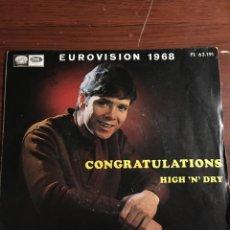 """Discos de vinilo: SINGLE 7"""" CLIFF RICHARD """"CONGRATULATIONS"""" EUROVISION 1968. Lote 221866275"""