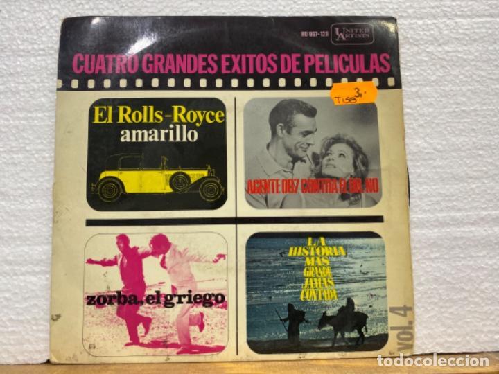 CUATRO GRANDES ÉXITOS DE PELÍCULAS (Música - Discos - Singles Vinilo - Bandas Sonoras y Actores)