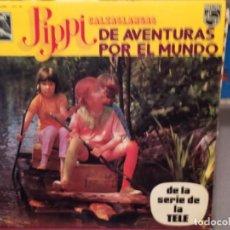 Discos de vinilo: PIPPI CALZASLARGAS DE AVENTURAS POR EL MUNDO. ED ESPAÑA 1975. Lote 221897963