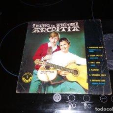 Discos de vinilo: IRUNE TA ANDONI ARGOITIA /TXORIBURUAK (MARIONETAS EN LA CUERDA)GAURKO GAZTEAK (CUORE MATO)EUROVISION. Lote 221932795