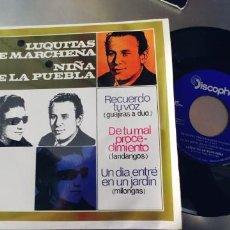 Discos de vinilo: LUQUITAS DE MARCHENA Y NIÑA DE LA PUEBLA-EP RECUERDO TU VOZ +3-NUEVO. Lote 221978313