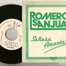 Discos de vinilo: DISCO VINILO. SINGLE. ROMERO SANJUAN. SEÑORA AMANTE. RCA ESP 623. (P/C61). Lote 221990051