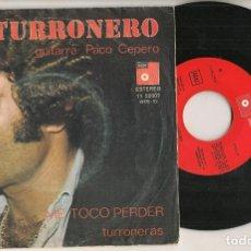 Discos de vinilo: DISCO VINILO. SINGLE. HERMANOS TORONJO. EL TURRONERO. ME TOCÓ PERDER. BASF 11 52907. (P/C61). Lote 221990716