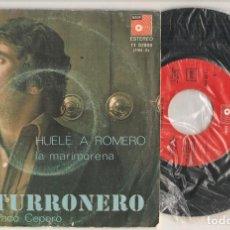 Discos de vinilo: DISCO VINILO. SINGLE. HERMANOS TORONJO. EL TURRONERO. HUELE A ROMERO. BASF 11 52906. (P/C61). Lote 221990785