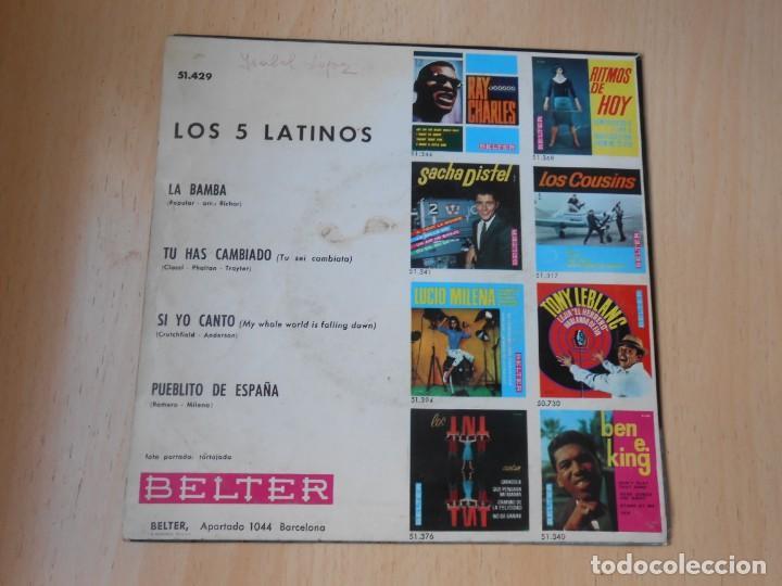 Discos de vinilo: CINCO LATINOS. LOS, EP, LA BAMBA + 3, AÑO 1964 - Foto 2 - 221992311