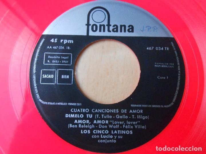 Discos de vinilo: CINCO LATINOS. LOS - CUATRO CANCIONES DE AMOR -, EP, DIMELO TU + 3, AÑO 1959 - Foto 4 - 221992788