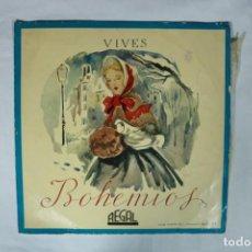 Discos de vinilo: ZARZUELA: BOHEMIOS - AMADEO VIVES - LP - EMI - 1958.. Lote 221993030