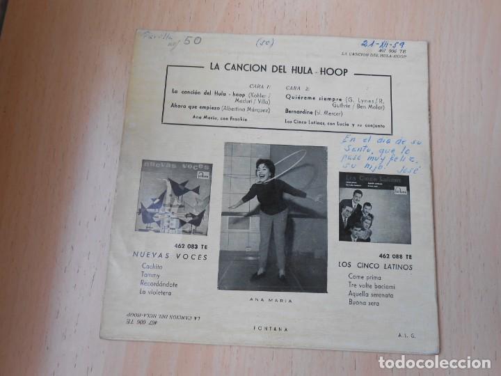 Discos de vinilo: ANA MARIA - LOS CINCO LATINOS, EP, LA CANCIÓN DEL HULA-HOOP + 3, AÑO 1959 - Foto 2 - 222003237