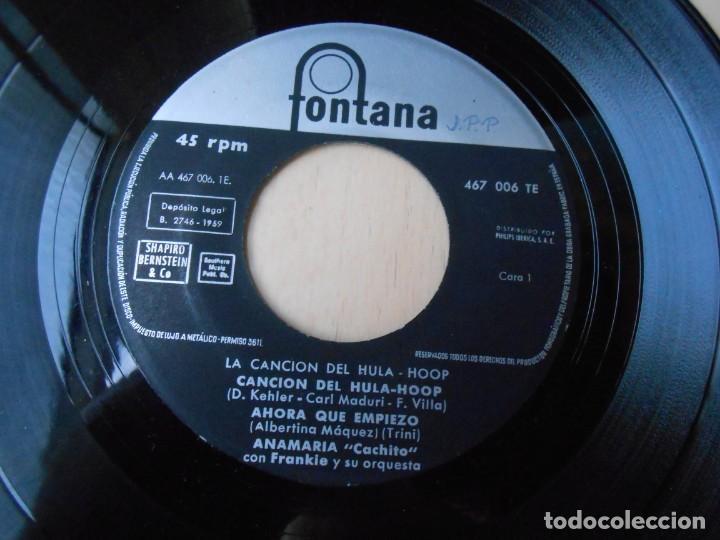 Discos de vinilo: ANA MARIA - LOS CINCO LATINOS, EP, LA CANCIÓN DEL HULA-HOOP + 3, AÑO 1959 - Foto 3 - 222003237