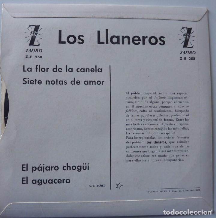 Discos de vinilo: LOS LLANEROS // LA FLOR DE LA CANELA+3 // 1961 // EP - Foto 2 - 222025621