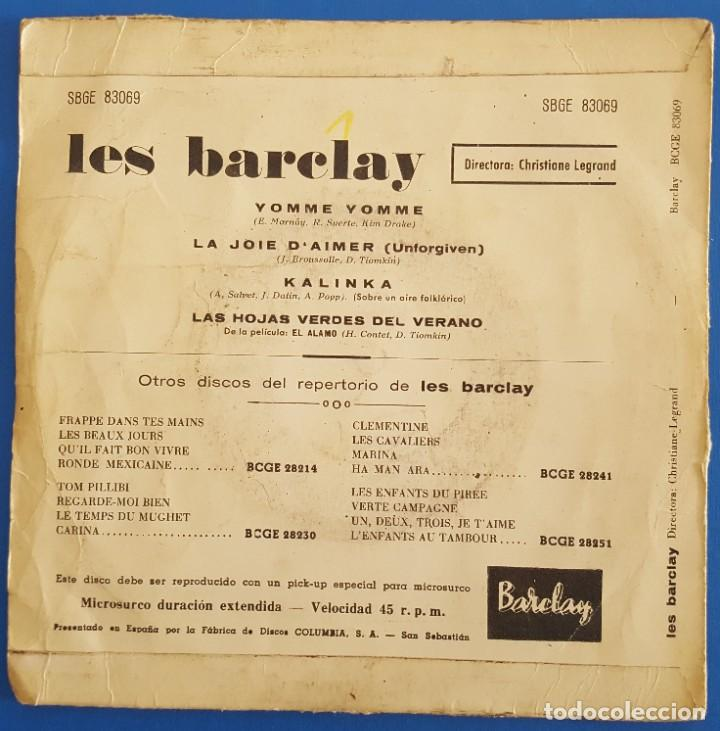 Discos de vinilo: EP / LES BARCLAY / YOMME YOMME / BARCLAY SBGE 83069 / 1961 - Foto 2 - 222087172