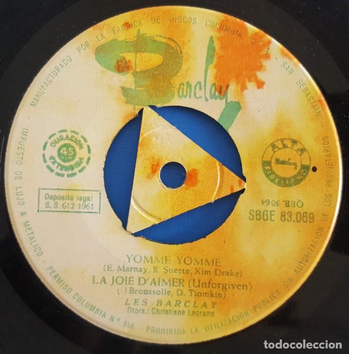 Discos de vinilo: EP / LES BARCLAY / YOMME YOMME / BARCLAY SBGE 83069 / 1961 - Foto 3 - 222087172