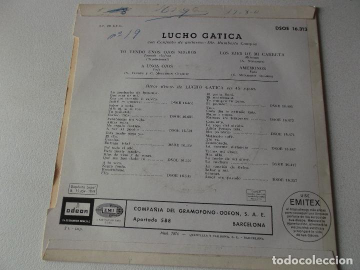 Discos de vinilo: LUCHO GATICA / YO VENDO UNOS OJOS NEGROS / A UNOS OJOS / LOS EJES DE MI CARRETA / AMEMONOS (EP 59) - Foto 2 - 222132006