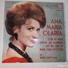 Discos de vinilo: ANA MARÍA OLARIA CON MIGUEL ZANETTI – FLOR DE AGUA / CANTAN LAS ALONDRAS / QUE NO, QUE NO /. Lote 222134225
