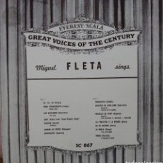 Discos de vinilo: MIGUEL FLETA LP SELLO EVEREST EDITADO EN USA.... Lote 222177781