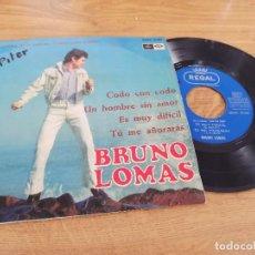 Discos de vinilo: BRUNO LOMAS / CODO CON CODO / UN HOMBRE SIN AMOR / ES MUY DIFICIL / TÚ ME AÑORARÁS. Lote 222201905