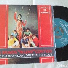Discos de vinilo: LOS BRAVOS SINGLE LOVE A IS A SYMPHONY NUEVO A ESTRENAR CON TRICENTRE. Lote 222223195
