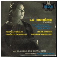 Discos de vinilo: LA BOHEME - RENATA TEBALDI / HILDE GUEDEN / GIACINTO PRANDELLI - EP 1958. Lote 222228382