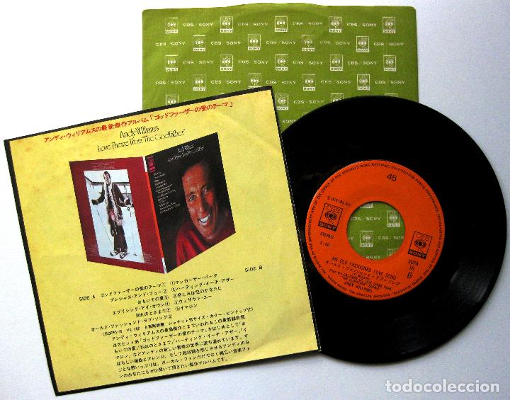 Discos de vinilo: Andy Williams - Love Theme From The Godfather (El Padrino) - Single CBS/Sony 1972 Japan BPY - Foto 2 - 284560643