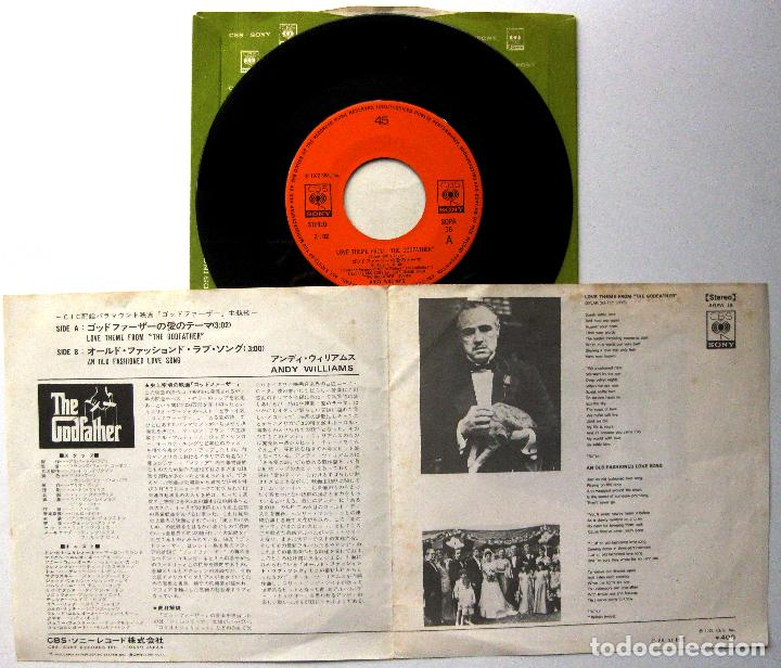 Discos de vinilo: Andy Williams - Love Theme From The Godfather (El Padrino) - Single CBS/Sony 1972 Japan BPY - Foto 3 - 284560643