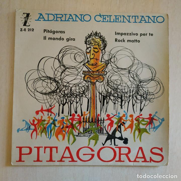 ADRIANO CELENTANO - PITAGORAS / IMPAZZIVO PER TE / ROCK MATTO + 1 RARO EP ZAFIRO SPAIN AÑO 1960 VG+ (Música - Discos de Vinilo - EPs - Canción Francesa e Italiana)