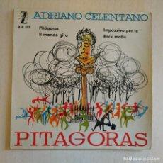 Discos de vinilo: ADRIANO CELENTANO - PITAGORAS / IMPAZZIVO PER TE / ROCK MATTO + 1 RARO EP ZAFIRO SPAIN AÑO 1960 VG+. Lote 222247580